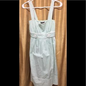Teeze Me Green/White Striped Summer Dress